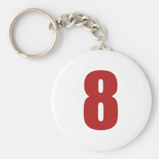 Number 8  in red on white button keychain