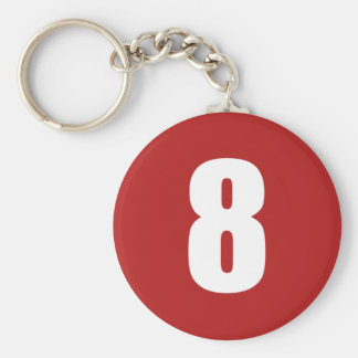 Number 8  in white on red button keychain