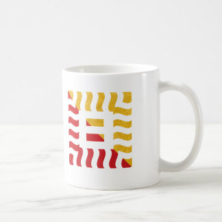 Number 8 split positive textured red/gold tone coffee mug