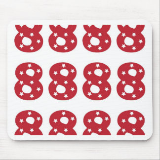 Number 8 - White Stars on Dark Red Mouse Pad