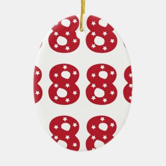 Number 8 - White Stars on Dark Red Christmas Ornament