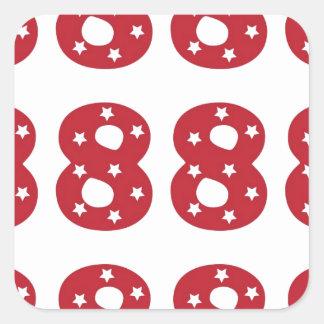 Number 8 - White Stars on Dark Red Square Sticker