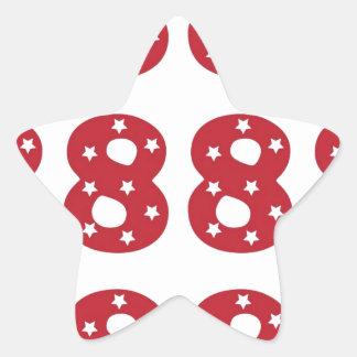 Number 8 - White Stars on Dark Red Star Sticker
