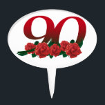 """Number 90 or 90th birthday floral cake topper<br><div class=""""desc"""">Number 90 or 90th birthday red rose decorated design</div>"""