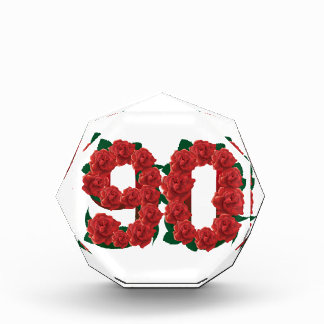Number 90 or 90th birthday red roses award