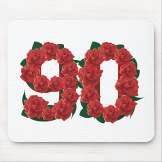 Number 90 or 90th birthday red roses mouse pad