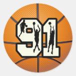 Number 91 Basketball Round Sticker