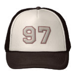 Number 97 with Cool Baseball Stitches Look Trucker Hat