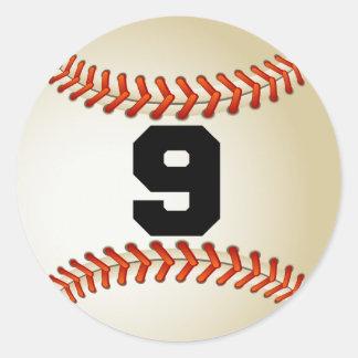 Number 9 Baseball Classic Round Sticker