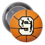 Number 9 Basketball and Player 3 Inch Round Button
