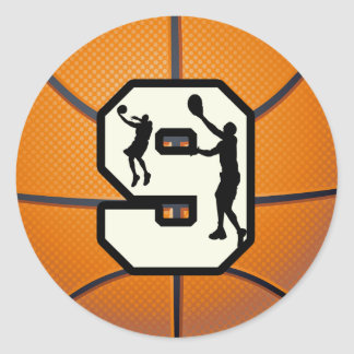 Number 9 Basketball and Player Classic Round Sticker