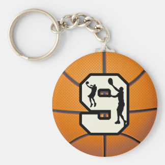 Number 9 Basketball and Player Keychain
