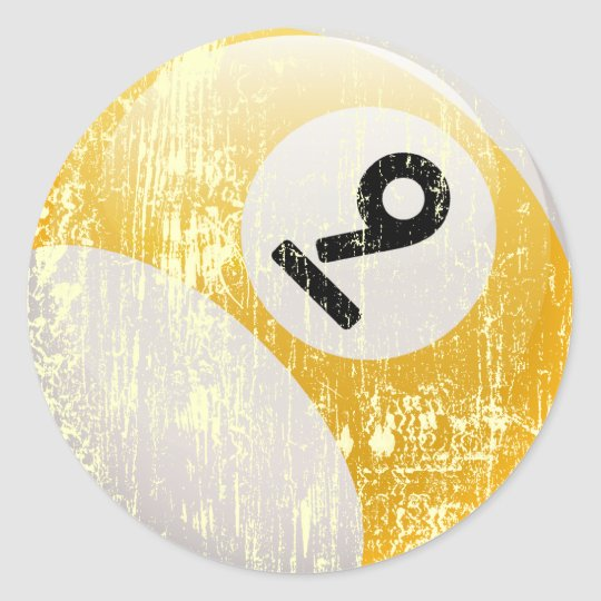 NUMBER 9 BILLIARDS BALL - ERODED AND AGED CLASSIC ROUND STICKER