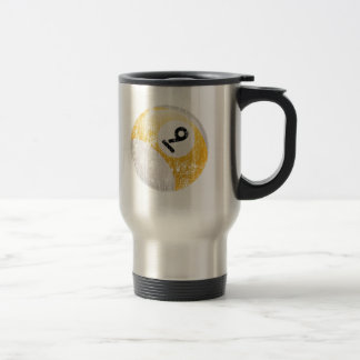 NUMBER 9 BILLIARDS BALL - ERODED AND AGED TRAVEL MUG