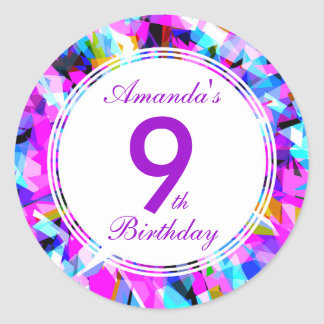 Number 9 - Birthday Round Sticker