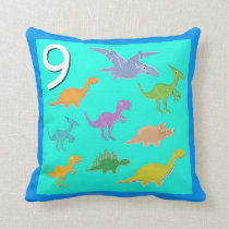 Number 9 Dinosaurs Numbers 1 - 10 Counting Throw Pillow