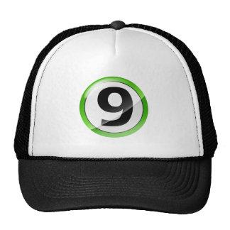 Number 9 green trucker hat