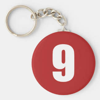 Number 9  in white on red button keychain