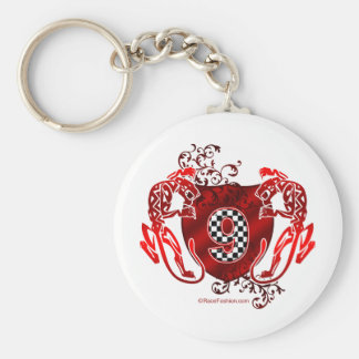 number 9 racing design panthers keychain