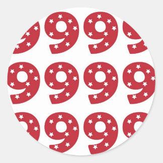 Number 9 - White Stars on Dark Red Classic Round Sticker