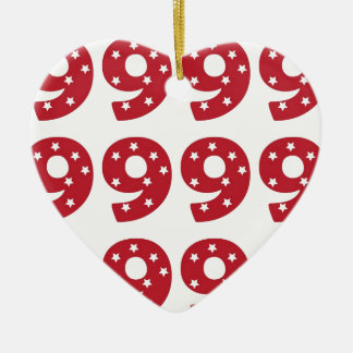Number 9 - White Stars on Dark Red Christmas Tree Ornaments