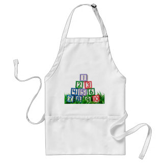 Number blocks stacked on grass adult apron
