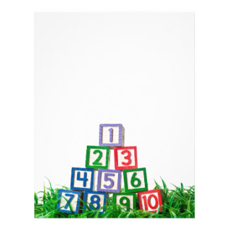 Number blocks stacked on grass flyer