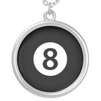 Number eight magic pool ball silver necklace