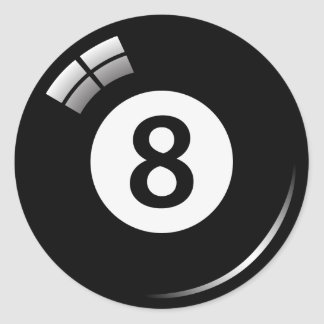 Number eight magic pool ball stickers/labels classic round sticker