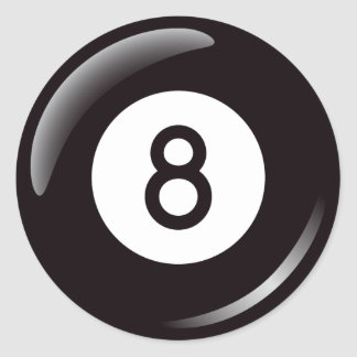 Number eight pool ball classic round sticker
