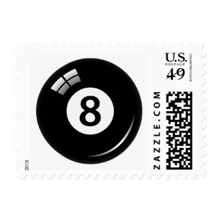 Number eight pool or billiard ball postage stamp