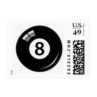 Number eight pool or billiard ball postage stamp