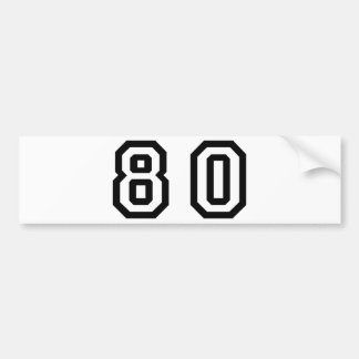 Number Eighty Car Bumper Sticker