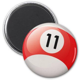 NUMBER ELEVEN BILLIARDS BALL 2 INCH ROUND MAGNET