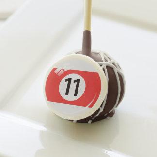 Number eleven pool / billiard ball cake pops