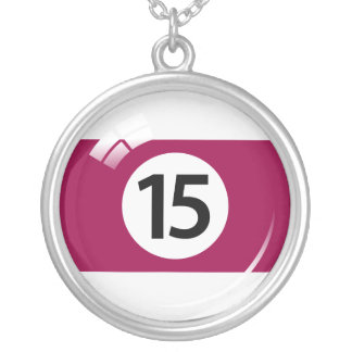 Number fifteen pool ball silver-plated necklace