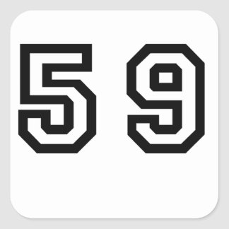 Number Fifty Nine Square Sticker