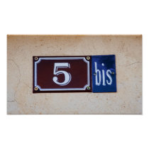 Number FIVE / 5 bis French Street Address Poster