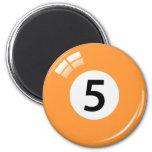 Number five billiard ball fridge magnet