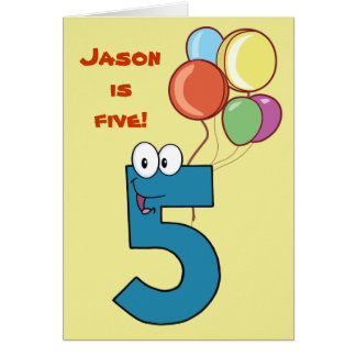 Number Five Birthday Card