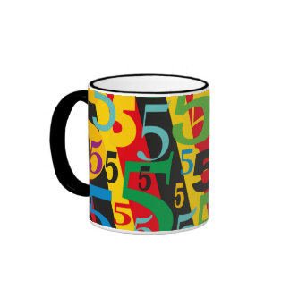 Number Five Fifth or 50th Birthday Anniversary Ringer Mug