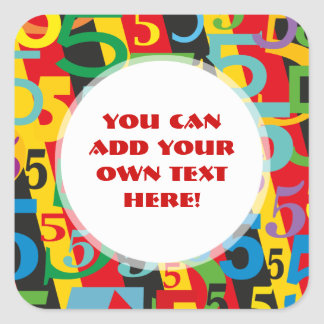 Number Five Fifth or 50th Birthday Anniversary Square Sticker