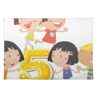 Number five cloth place mat