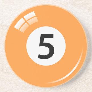 Number five pool ball sandstone coaster