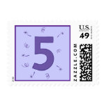 Number Five Purple Stars Ribbons Sparklers Stamps