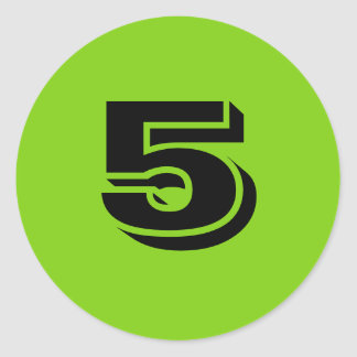 Number Five Small Round Green Stickers by Janz
