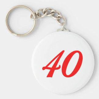 Number Forty 40th Birthday Gifts Basic Round Button Keychain