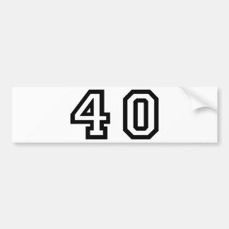 Number Forty Car Bumper Sticker