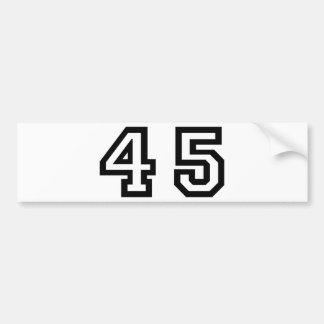 Number Forty Five Car Bumper Sticker