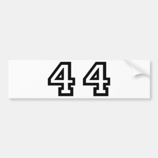 Number Forty Four Car Bumper Sticker